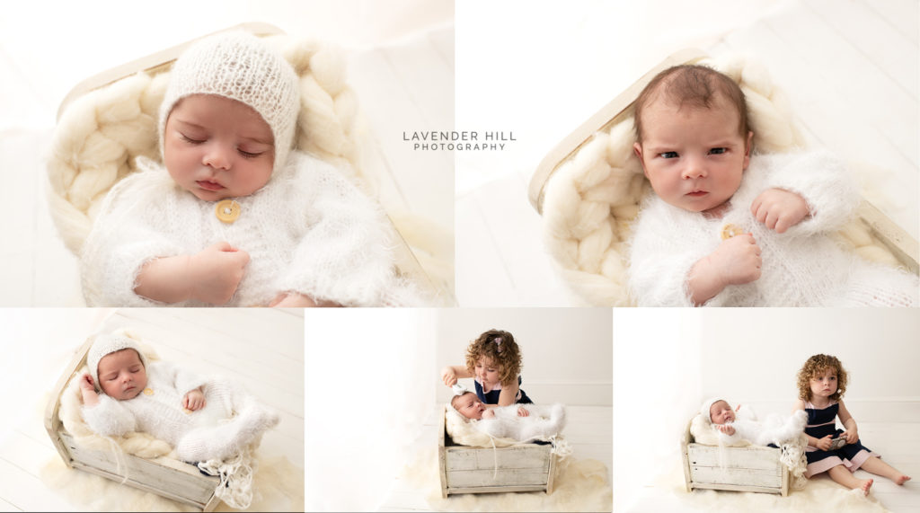 newborn photography north east london, newborn baby boy with his sister in studion in Walthamstow
