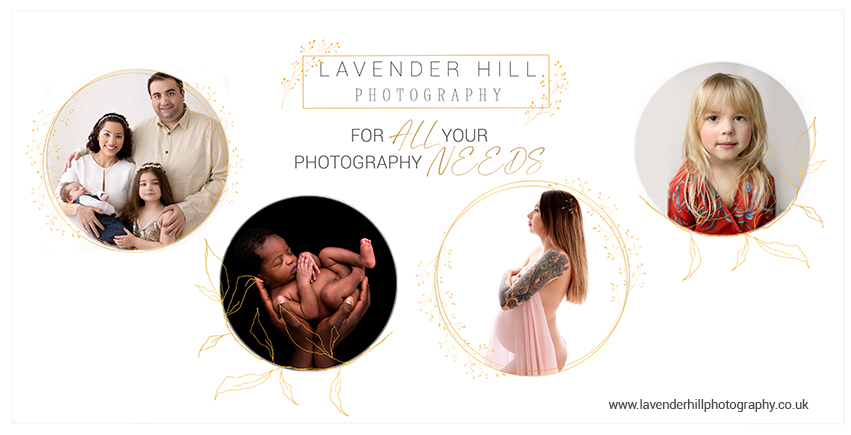 newborn photographer north east london, pregnany woman and a family are visible in the photo