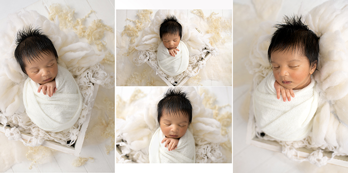 newborn baby photography north east london, cute newborn baby in a crate
